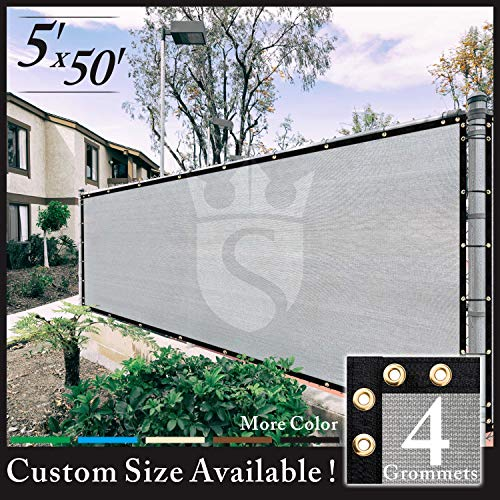Royal Shade 5' x 50' Grey Fence Privacy Screen Windscreen Cover Netting Mesh Fabric Cloth - Get Your Privacy Today, Stop Neighbor Seeing-Through Stop Dogs Barking Protect Property WE Make Custom Size ()