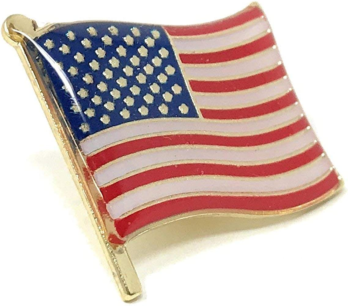 Men/'s USA Flag Waving Stickpin Tie Bar Clip