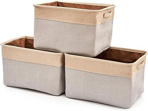 EZOWare 3 Pcs Caja de Almacenaje, Cestas Organizador de Tela ...