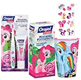 My Little Pony Inspired ''Frienship is Magic'' 4pc. Bright Smile Toddler Toothbrush Trainning Set! Plus Bonus My Little Pony Reward Tattoos!