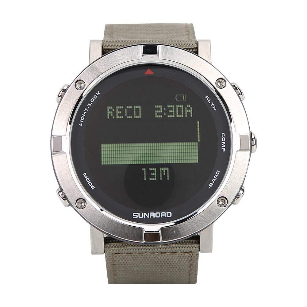 屋外腕時計 防水デジタル心拍数ウォッチ 高度計 バロメーター 男女兼用 B07NSXMBF5 銀