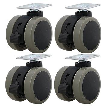 BQLZR 2 cm Dia gris hierro soporte de metal placa superior plástico rueda giratoria ruedas con freno para silla muebles armario Pack de 4: Amazon.es: ...