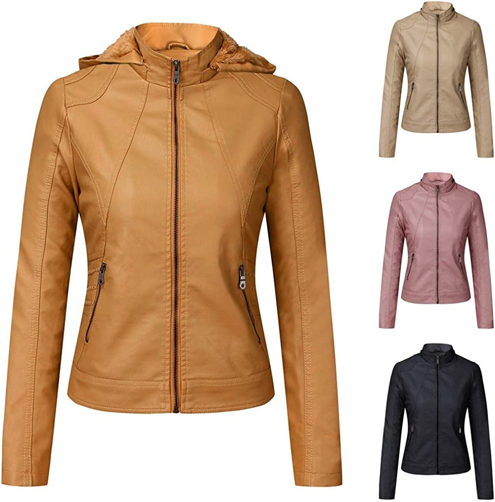 RUIVE Women/'s Artificial Leather Coats Winter Warm Thicken Plush Zipper Hooded Outerwear Windbreaker Biker Bomber Jackets