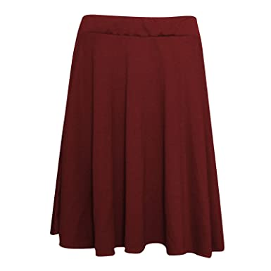 6e63142797a Slay Fashion Ladies Women s Plain Stretchy Elasticated Flared Skater Skirt  Plus Size 14-28 (
