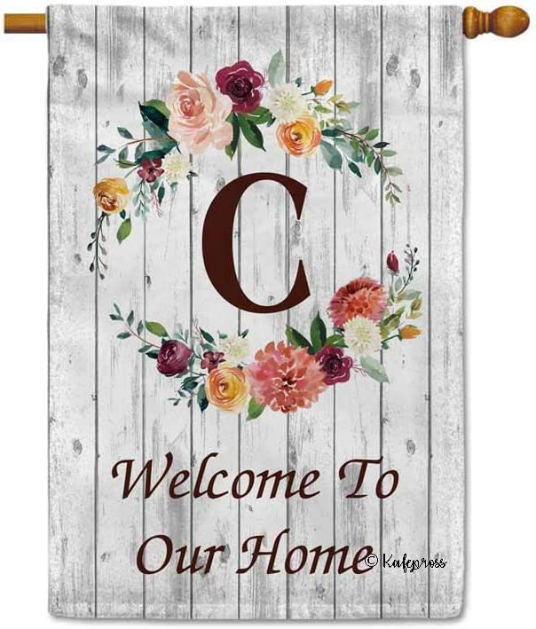 KafePross Hello Spring Flowers Summer Initial Letter Monogram C House Flag Welcome to Our Home Warminghouse Decor Banner for Outside 28X40 Inch Double Sided