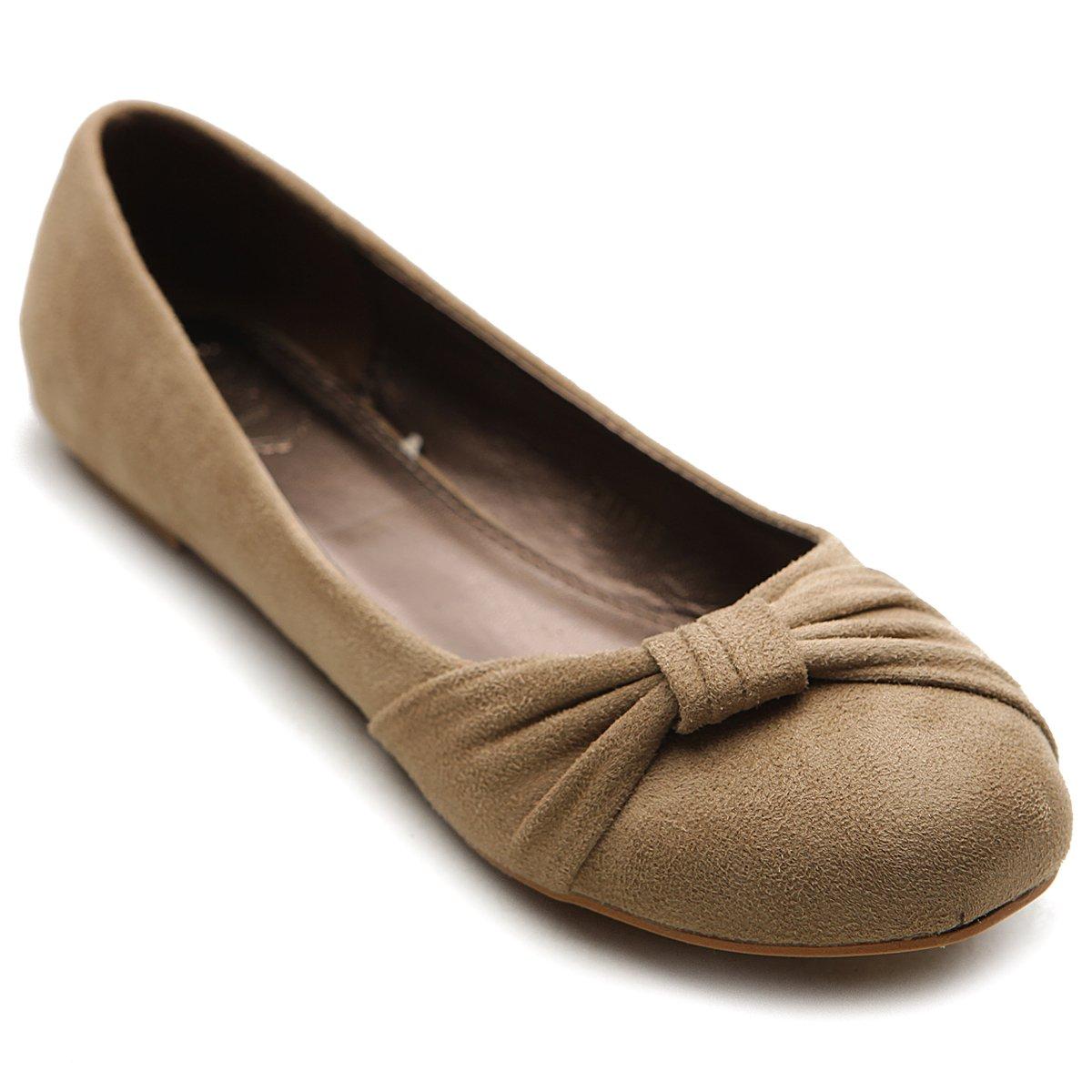 Ollio Women's Shoe Ballet Faux Suede Flat ZM1815