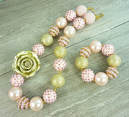 Bubblegum Necklace , Baby's Chunky Beaded Neck wear with Add-On Bracelet, Pink with Gold Flower, Toddler's 1st Birthday, Photo Prop, Girl's Fashion Jewelry. Handmade in the USA (Gold Bracelets Baby Beaded)
