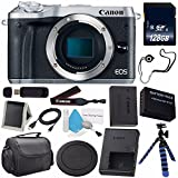 6Ave Canon EOS M6 Mirrorless Digital Camera (Silver) 1725C001 (International Model) + LP-E17 Replacement Lithium Ion Battery + 128GB SDXC Class 10 Memory Card + SD Card USB Reader Bundle