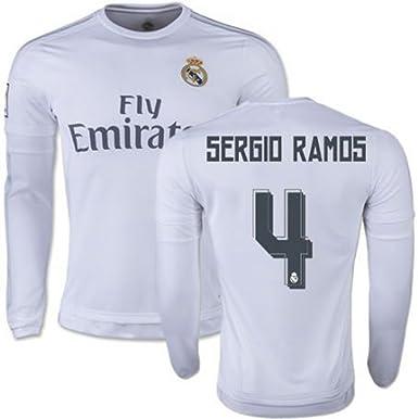 0f7596f05 2015-2016 Real Madrid  4 Sergio Ramos Home Jersey Men s Soccer Long Sleeve  Shirt  Amazon.co.uk  Clothing