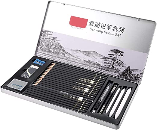 29Pcs Sketching Pencils Set Drawing Pencils Sketch Set Kit de dibujo profesional Suministros de arte con un estuche de almacenamiento para principiantes Artista: Amazon.es: Hogar