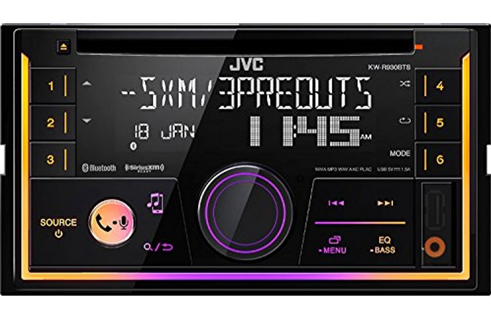 JVC KW-R920BTS Double DIN Bluetooth Car Stereo Receiver CD Player Bundle Combo With Metra installation kit for car stereo Fits Most GM Vehicles Enrock 22 Radio Antenna With Adapter Enrock JVC Metra KW-R920BTS 952001 40GM10 702003 EKMR1 + Wire Harness