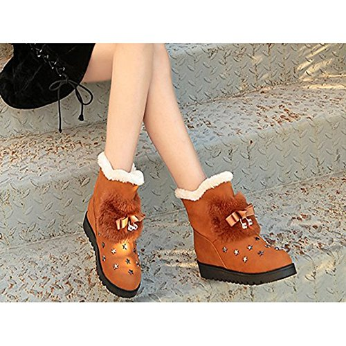 Black Bowknot Boots Round Shoes for Casual Combat Toe Brown HSXZ PU Mid ZHZNVX Boots Green Brown Boots Flat Calf Heel Women's Winter Fw4SUxAq