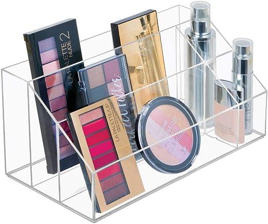 Mdesign Organiseur Maquillage Boite De Rangement Maquillage Avec Cinq Compartiments Pour Produits De Maquillage Vernis A Ongles Et Produits De Beaute Rangement Make Up Ideal Transparent Amazon Fr Cuisine Maison