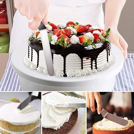 Gyvazla Torta Giratoria, Cake Turntable, 5 Grande Boquillas de Acero Inoxidable, 3 Raspador de Pastel, 2 Espátula de Hielo, Cortador, Bolso de Pastelería, para Decoración de Pasteles, Cupcakes