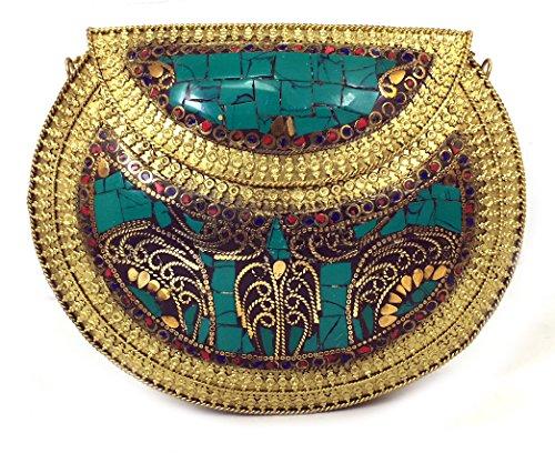 Batu Lee Handmade Antique Metal & Firoza Work Clutch Purse Wallet hard Handbag with Golden Chain Multi Elipse Shape for Women