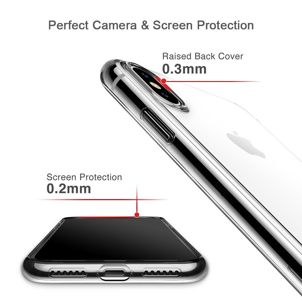iPhone X Phone Case,WOWOGO Lightweight [Crystal Clear] TPU Back Cover [Qi Wireless Charging Compatible] Transparent Soft Flexible Protective Case for Apple iPhone X/iPhone 10 5.8\