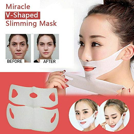 Miracle V-Shaped Slimming Mask,Eliminate Edema Lifting Firming Double Chin Reducer Lifting Up Firming Moisturizing Mask(5 Pack)