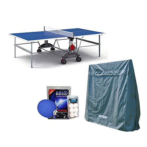 Kettler Top Star XL Weatherproof Table Tennis Table with Outdoor Accessory Bundle