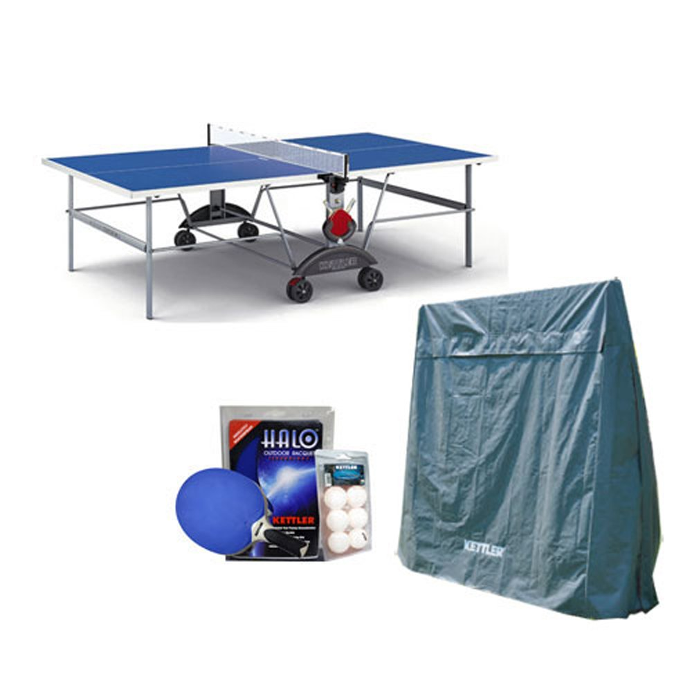 Kettler Top Star XL Weatherproof Table Tennis Table with Outdoor Accessory Bundle by Kettler