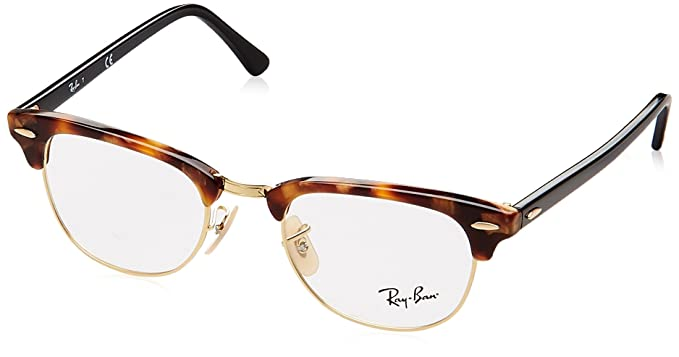 13ee65554b0 Ray-Ban Clubmaster No Polarization Square Prescription Eyewear Frame Havana  Brown 49 mm