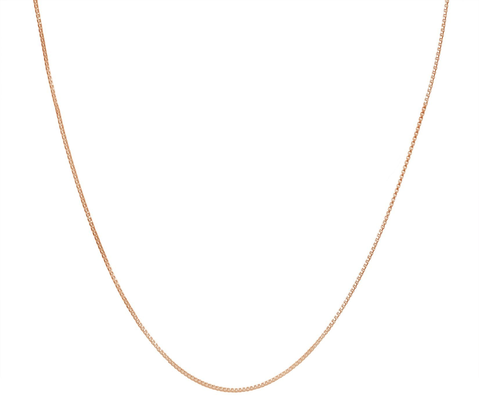 KEZEF Creations Rose Gold Plated Sterling Silver Necklace - 1mm Box Chain - Hypoallergenic and Tarnish Resistant - Classic Design and Comfortable Fit - 34''