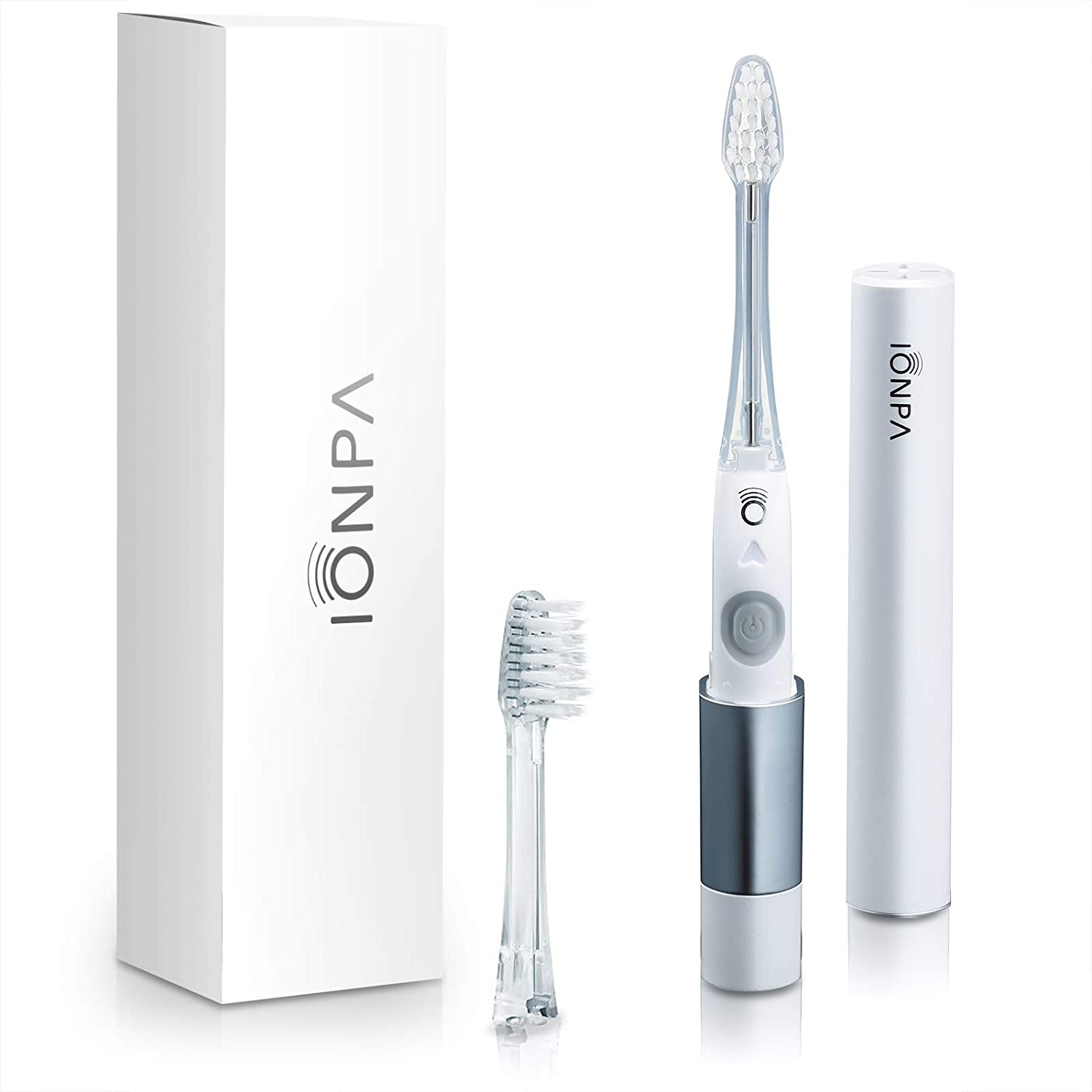 IONPA DM White Compact ION Power Electric Toothbrush with Travel Ready Cap, Brushing Timer, 2 Modes, 2 Soft Extended Filament Replacement Brush Heads, Made in Japan by IONIC KISS You, DM-011PW