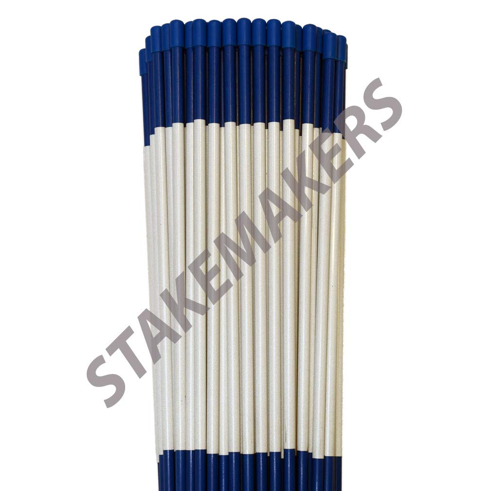 Driveway Marker, Snow Stakes, Plow Stakes, Reflective Tape, 5/16 Diameter x 48 Fiberglass, Blue, 10 Pack Lowcostsnowstakes.com