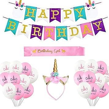 Amazon.com: SUSHAFEN Unicornio Decoración de cumpleaños ...