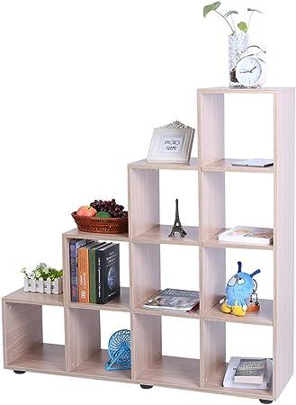 Ausla - Mueble de almacenaje con 10 Compartimentos, 114 x 30 x 116 cm, para Biblioteca, salón, Dormitorio: Amazon.es: Hogar