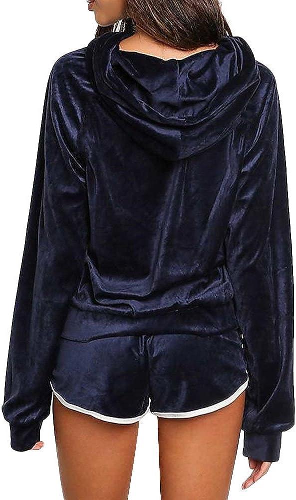 2Pcs Ladies Sport Velvet Hoodies Shorts Women Casual Tracksuit Long Sleeve Shirt Pants Sets Running Workout Gym Yoga Sportswear Summer Outfits