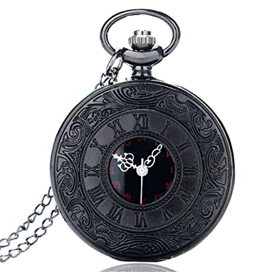 Vintage Steampunk Roman Number Quartz Pocket Watch Retro Necklace Pendant With Chain For Men Women Reloj