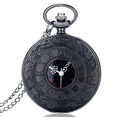 Vintage Steampunk Roman Number Quartz Pocket Watch Retro Necklace Pendant With Chain For Men Women Reloj