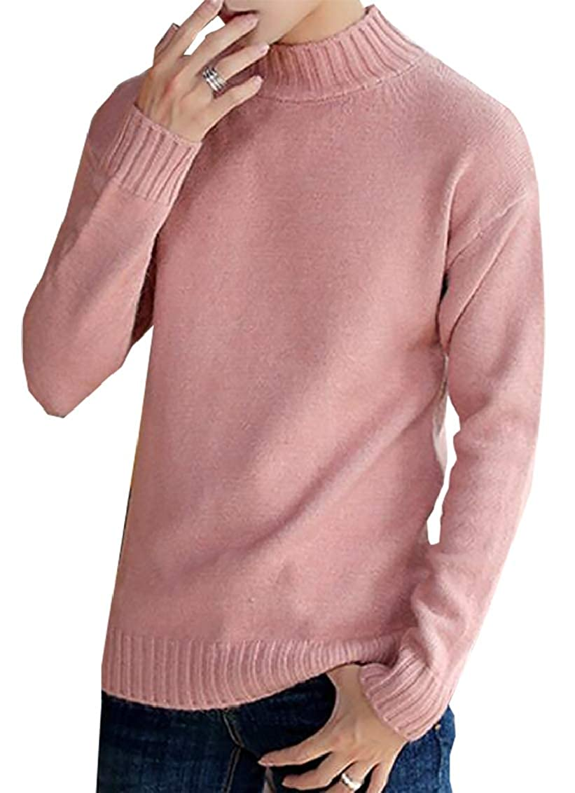 GAGA Mens Turtleneck Long Sleeve Jumper Textured Knit Pullover Sweater Tops