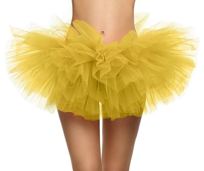 Feoya Mujeres Ballet Princesas Falda de Tul Tutú Corto de 5 Capas Skirt Disfraz para Danza Fiesta Cosplay Fotografía - Amarillo: Amazon.es: Ropa y ...