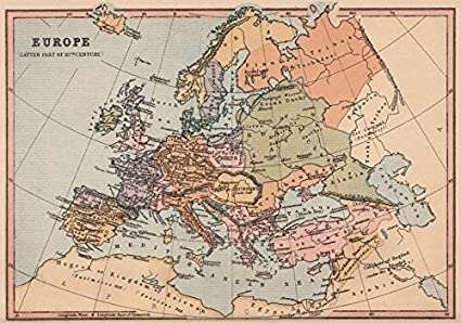 Amazoncom TH CENTURY EUROPE Holy Roman Empire Caliphate Of - Vintage europe map poster