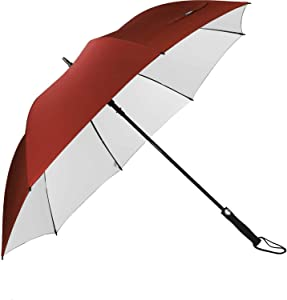 G4Free Windproof UV Protection Golf Umbrella Silver Coated Large 62 Inch Automatic Open Silver Coated Stick Umbrellas