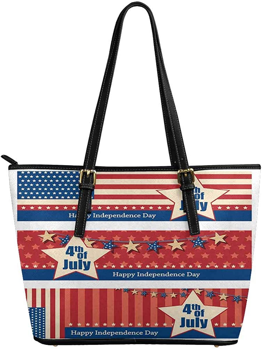 Independence Day of America InterestPrint Top Handle Satchel HandBags Shoulder Bags Tote Bags Purse 4Th July