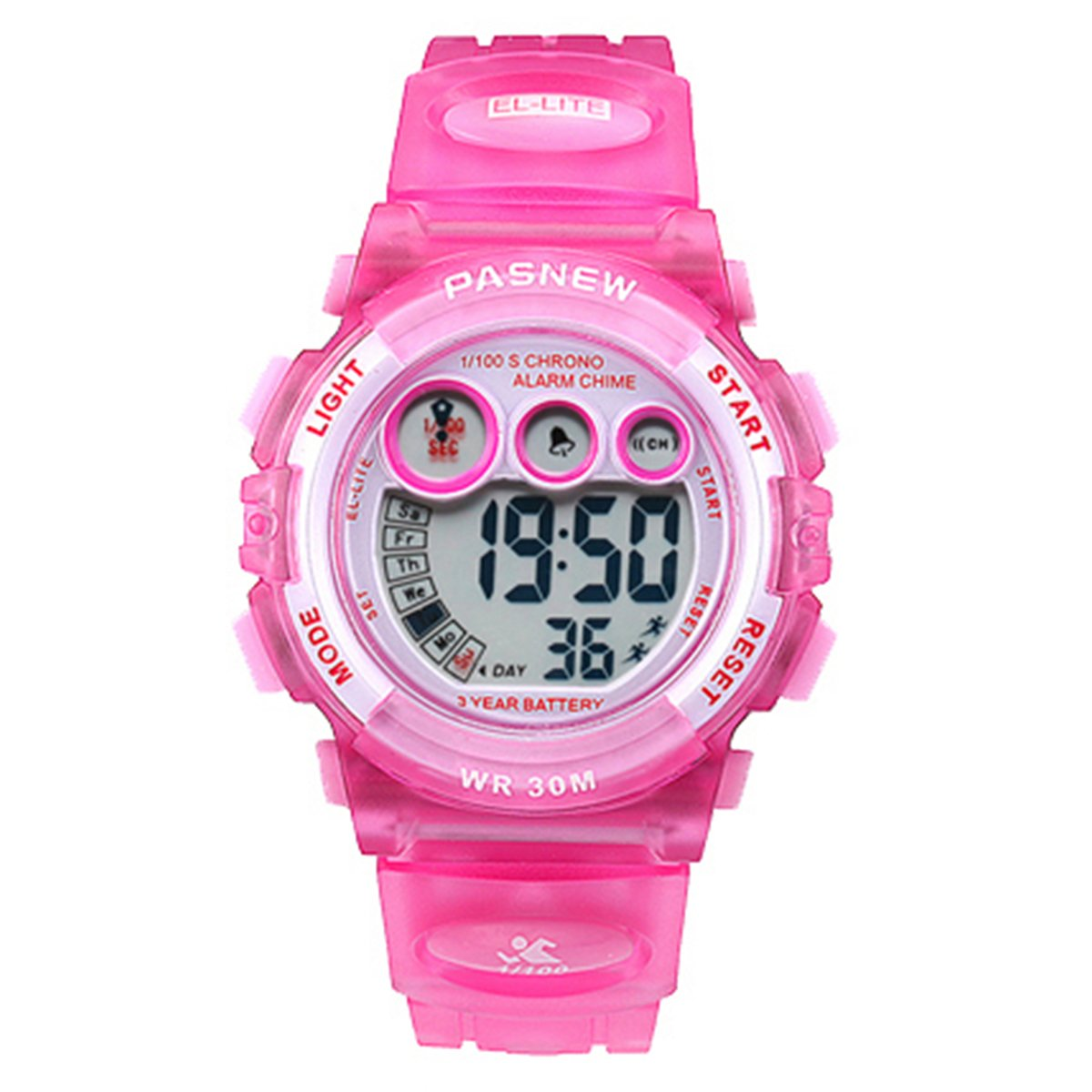 Kids Watches Sports Digital LED 30M Waterproof Alarm Stopwatch Child Wristwatch for Girl Pink