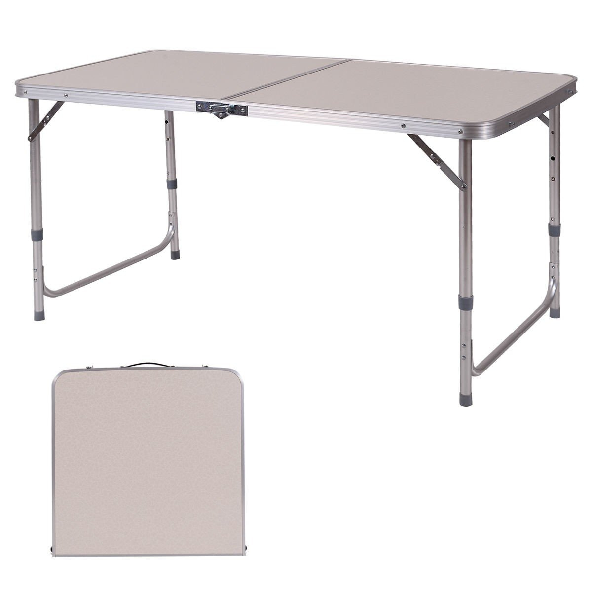 Custpromo 2' x 4' Height Adjustable Folding Camping Table Portable Aluminum Picnic Table with Carry Handle