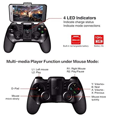 iPEGA PG-9076 Controlador inalámbrico de juegos Gamepad Joystick para Android Tablet PC / Android / Win XP / 7/8/10 / PS3