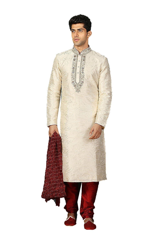 Da Facioun Art Silk Fabric Cream Color Traditional Indian Mens wear K-5328-48351
