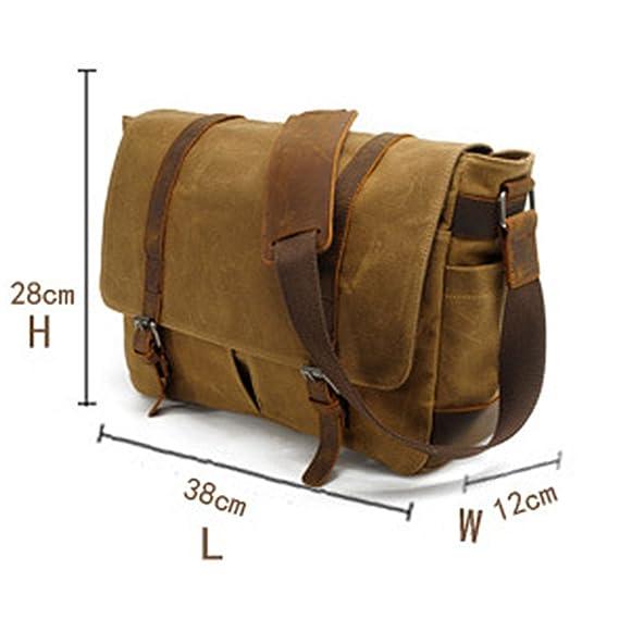 DCRYWRX Mens Canvas Leather Computer Laptop Bag 15 Inch Briefcase Large Traveling Bag