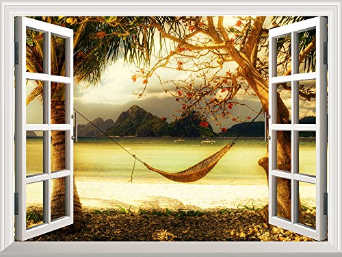 Removable Wall Sticker Wall Mural Beautiful Tropical View with a Hammock Creative Window View Wall Decor