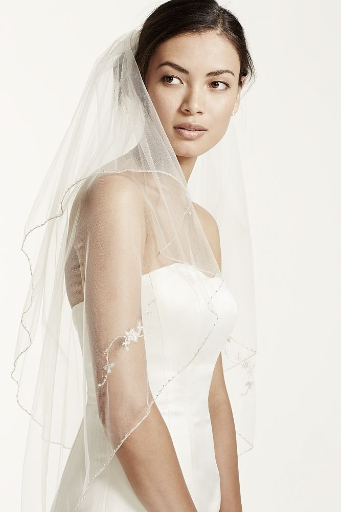 Two Tiered Veil with Beaded Metallic Detail Style VCT258S, Gold by David's Bridal (Image #4)