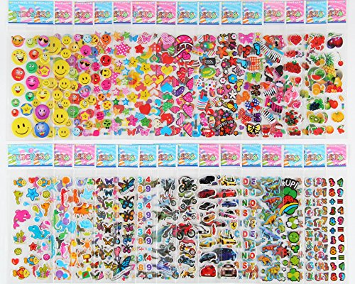 Pack of 30 Different Sheets MCY MoCeYa Toddlers and Kids Puffy Stickers for Children (Girls and Boys),700+ Puffy Stickers Mega Variety Pack (20 Different Trading Cards)