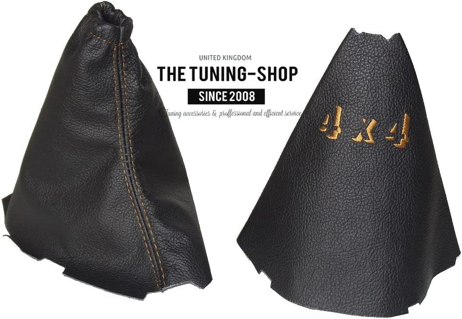The Tuning-Shop Ltd For Landrover Freelander Lr2 2006-2014 Automatic Shift E Brake Boot Black Leather Blue Stitching
