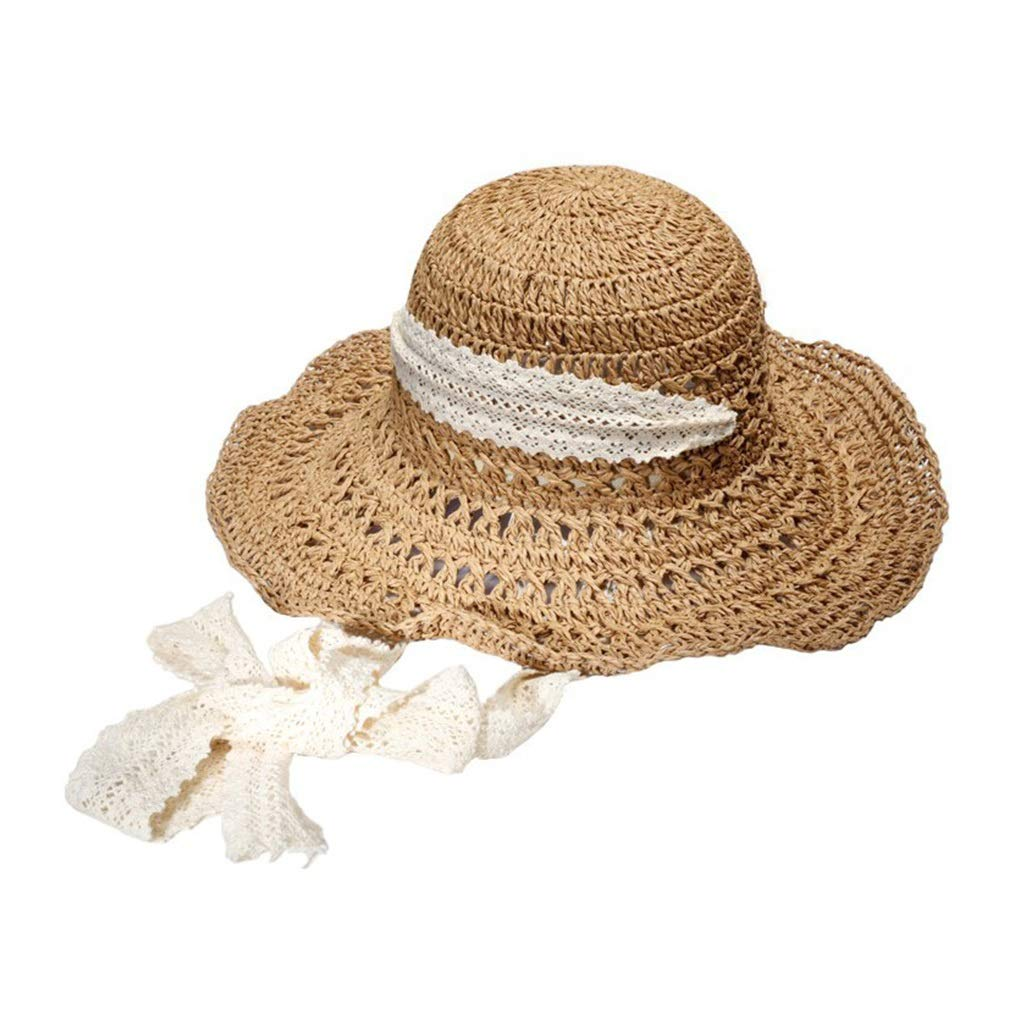 604fda4d8 Amazon.com: Khaki Lace Streamer Crochet Handmade Hat Hollow Visor ...