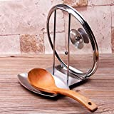 iPstyle Pan Lid Holder for Pots and Pans Progressive Lid and Spoon Rest Shelf 304 Stainless Steel Pan Lid Organizer Kitchen Decor Tool