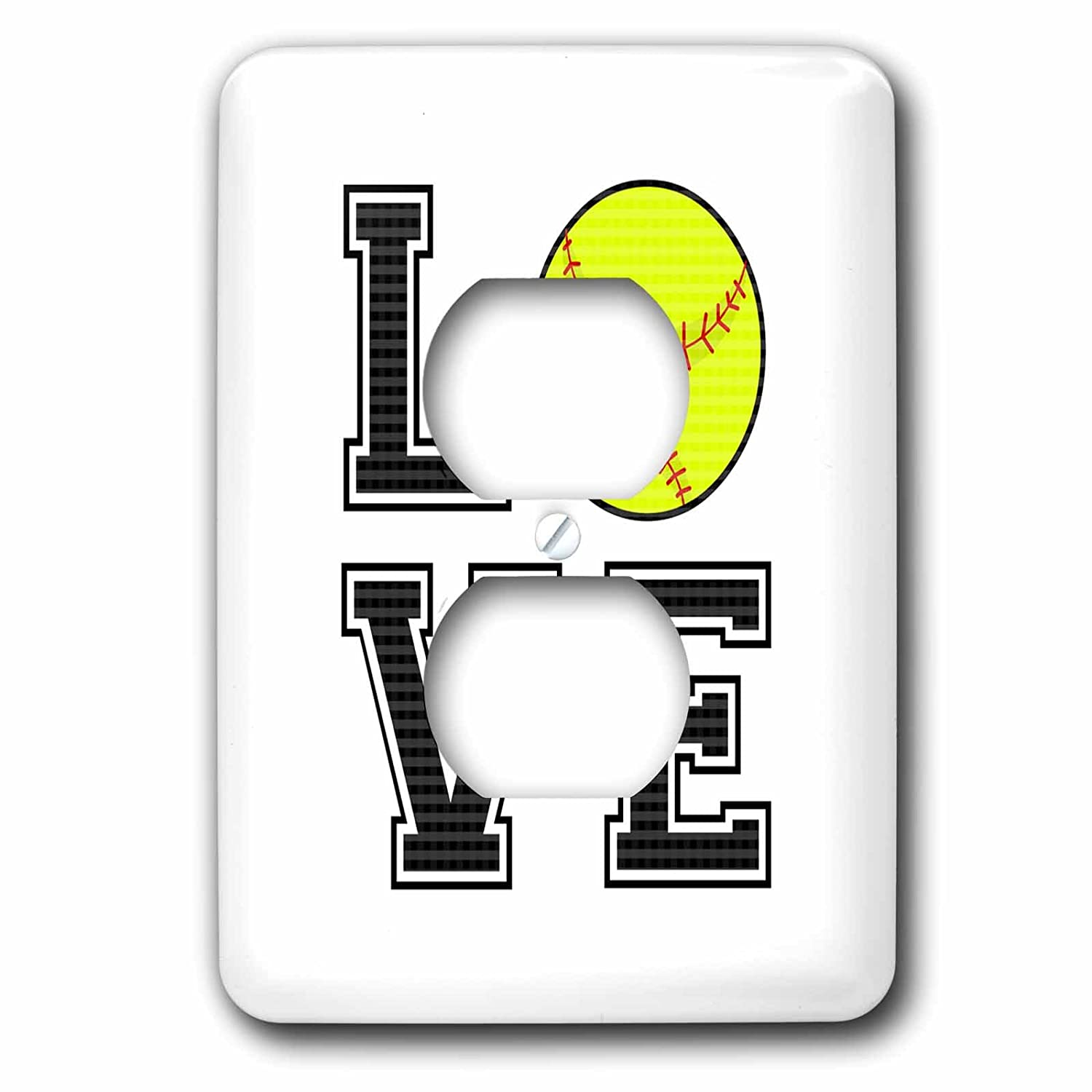 3dRose LSP/_223342/_6 Print of Love Softball 2 Plug Outlet Cover