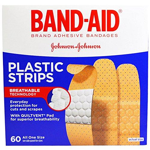 Band Aid, Brand Adhesive Bandages, Plastic Strips, 60 Bandages - 2pc (Aid Band Plastic Strips)